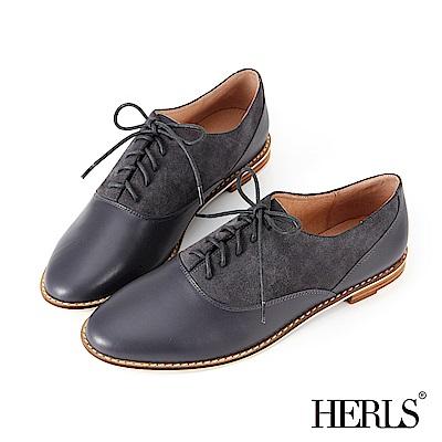 HERLS 全真皮 中性休閒麂皮拼接牛津鞋-藍色