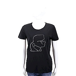 Karl Lagerfeld Lightning 黑色老佛爺滾邊側臉肖像短袖T恤