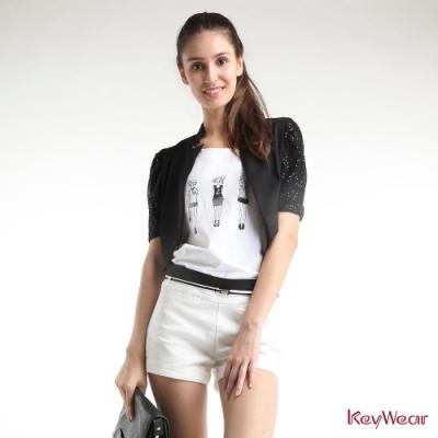 KeyWear奇威名品    優雅蕾絲異材拼接百搭外套-黑色