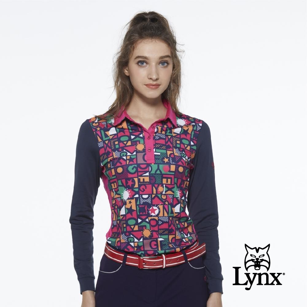 【Lynx Golf】女款吸濕排汗合身款滿版Lynx點漆印花長袖POLO衫-深藍色
