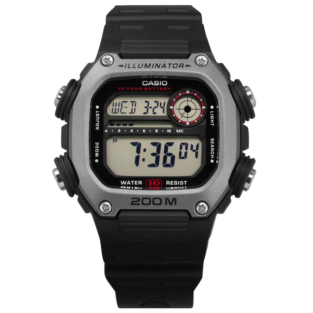 CASIO 卡西歐 電子液晶手錶-灰x黑DW-291H-1A/41mm