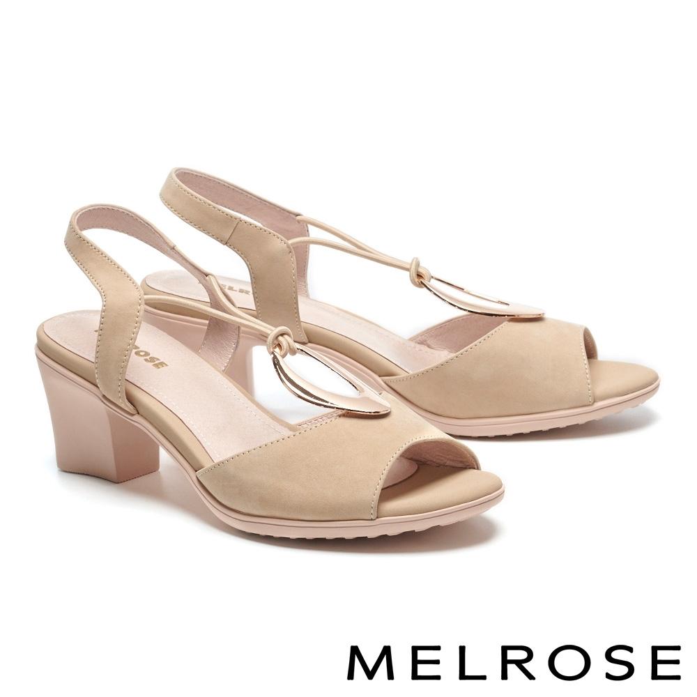 涼鞋 MELROSE 時髦迷人金屬圓釦設計高跟涼鞋-米