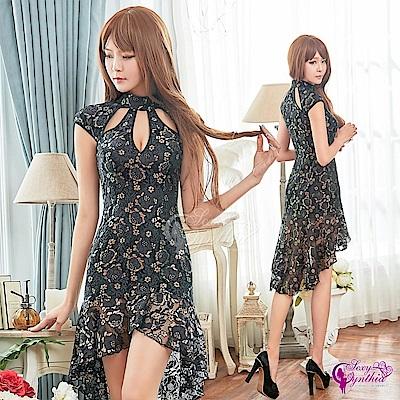 Sexy Cynthia角色扮演 黑色金蔥緹花刺繡旗袍角色扮演服二件組-黑F