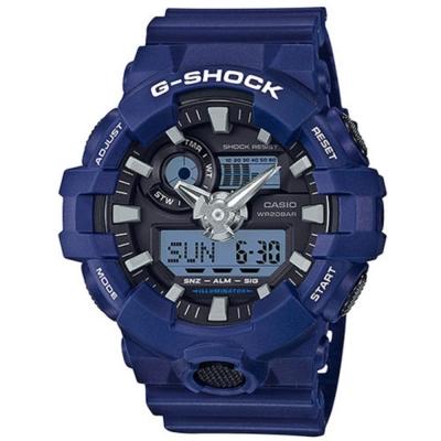 G-SHOCK創新突破金屬感搶眼視覺休閒錶(GA-700-2A)/藍53.4mm