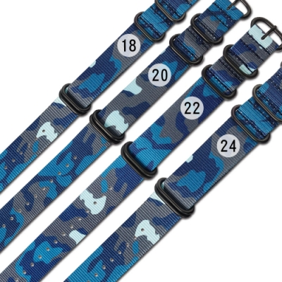 Watchband / 18.20.22.24 mm / 各品牌通用 潮流迷彩 輕便柔軟 黑鋼扣頭 尼龍錶帶-藍迷彩