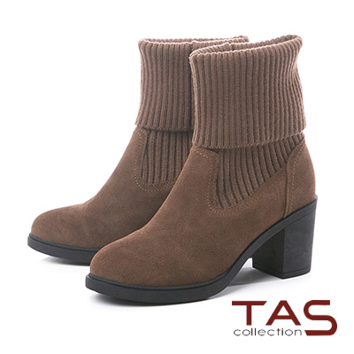 TAS粗織毛線反摺拼接麂皮粗跟長靴-冬季灰