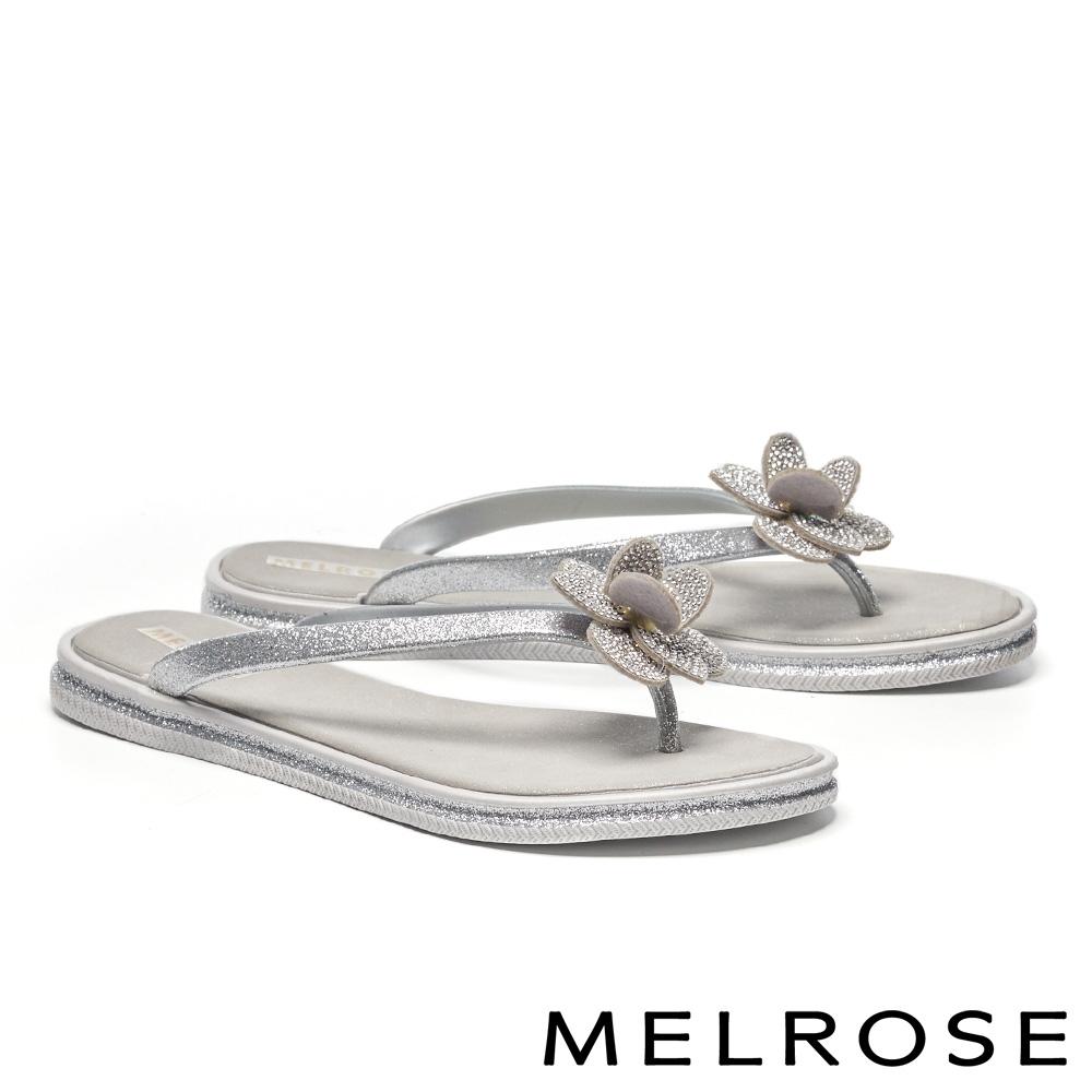 拖鞋 MELROSE 時髦亮麗晶鑽立體花卉夾腳拖鞋-灰