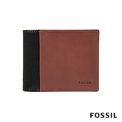 FOSSIL WARD 真皮帶翻轉證件格RFID男夾-黑色