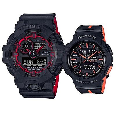 CASIO戀語街頭混搭雙色運動休閒情侶錶(GA-700SE-1A4+BGA-240L-1)