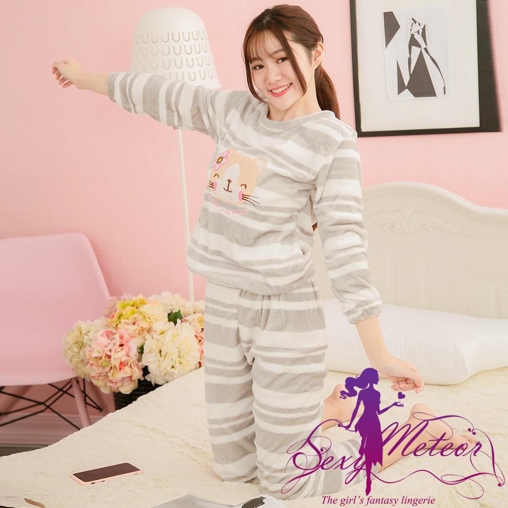 睡衣 全尺碼 貓條紋水貂絨長袖二件式睡衣組(淘氣灰) Sexy Meteor