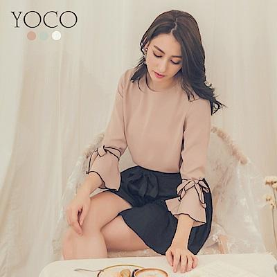 東京著衣-yoco 輕甜美人多色綁帶撞色滾邊喇叭袖上衣-S.M.L(共三色)