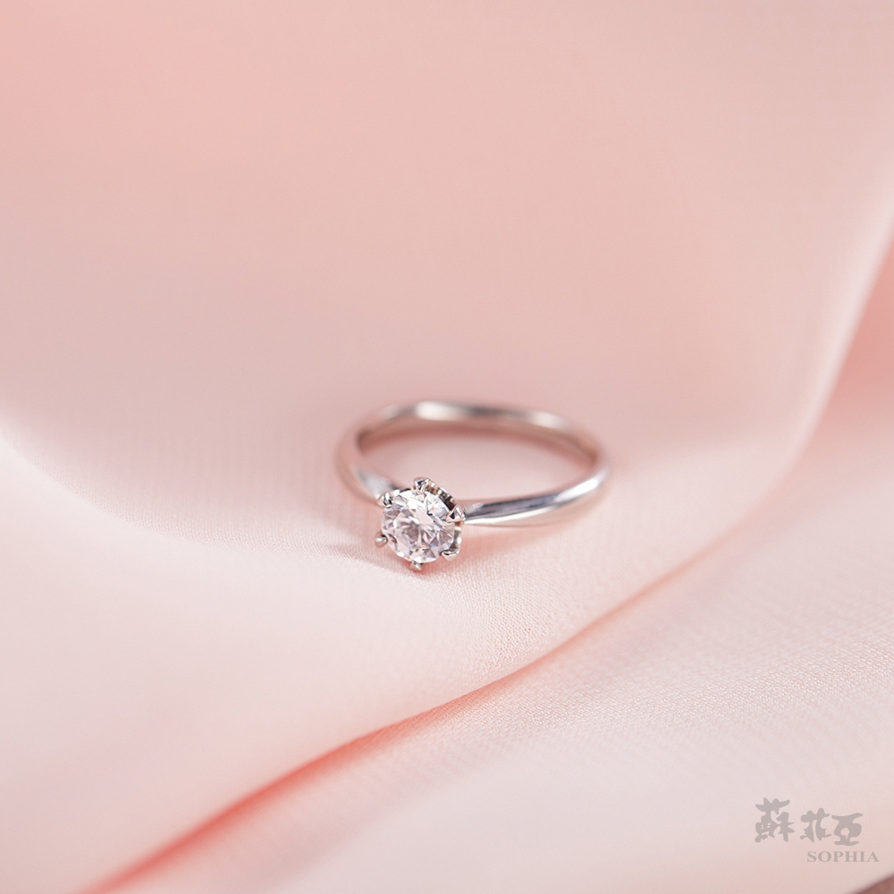SOPHIA 蘇菲亞珠寶 - 經典六爪 GIA 0.50克拉D_SI1 18K白金 鑽石戒指