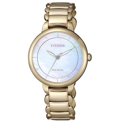 CITIZEN L 光動能時光螺旋女錶(EM0673-83D)-金