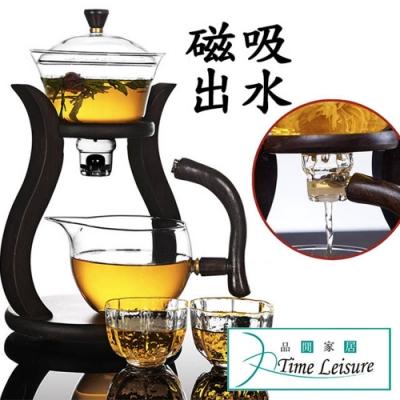 Time Leisure日式自動磁吸引水功夫玻璃茶壺+2描金梅妃茶杯組