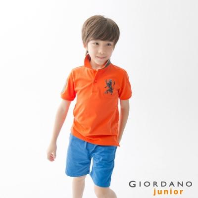 GIORDANO 童裝勝利獅王漸層刺繡彈力萊卡POLO衫-37 錦鯉橙