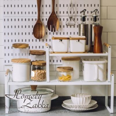 【Homely Zakka】日式簡約木質藝鐵多功能分層置物架/湯鍋隔層收納架_小