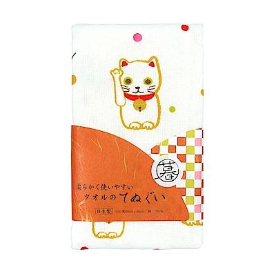 日本丸真 泉州製輕紗毛巾-招財貓