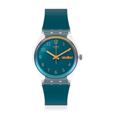 Swatch 原創系列手錶 BLUE AWAY 遠走藍-34mm