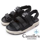 Camille's 韓國空運-織帶魔鬼氈運動休閒厚底涼鞋-黑色