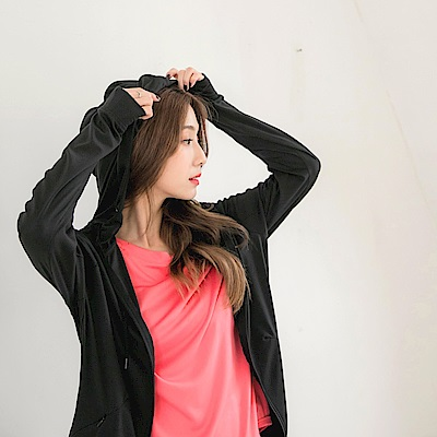 台灣製造。抗UV連帽袖套造型防曬外套-OB大尺碼