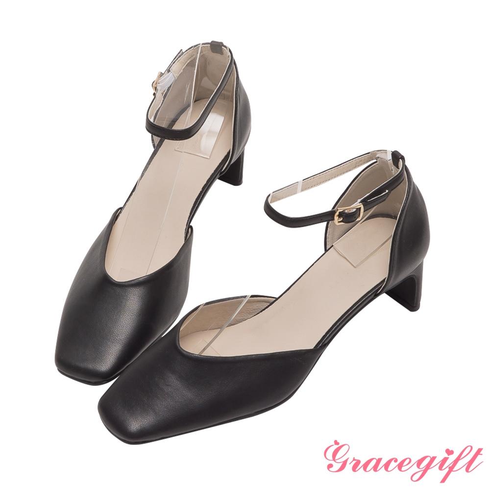 Grace gift-方頭繫踝扁跟鞋 黑