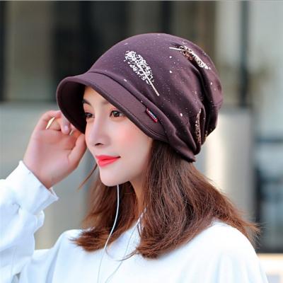 【89 zone】法式燙金優雅透氣多功能保暖套頭防風/頭巾帽 (咖啡色)