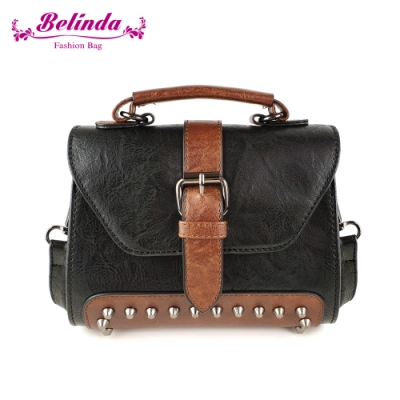 【Belinda】復古亞斯科側背包(黑色)