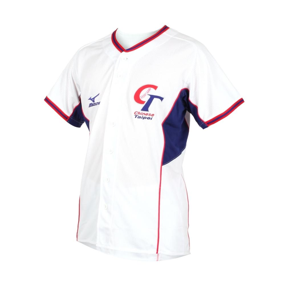 MIZUNO 男短袖T恤 TAIPEI CT 中華隊加油服-台灣製 棒球 12TA9M0501 白紅丈青