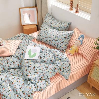 DUYAN竹漾-100%精梳純棉-單人三件式舖棉兩用被床包組-凝霜花畔 台灣製
