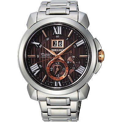 SEIKO精工 Premier 人動電能萬年曆手錶(SNP157J1)-42.9mm