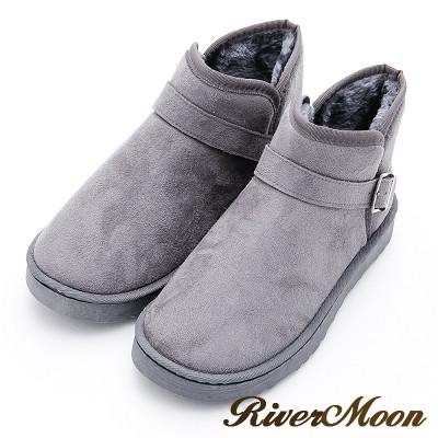 River&Moon大尺碼情侶款-百搭扣環雪靴-灰