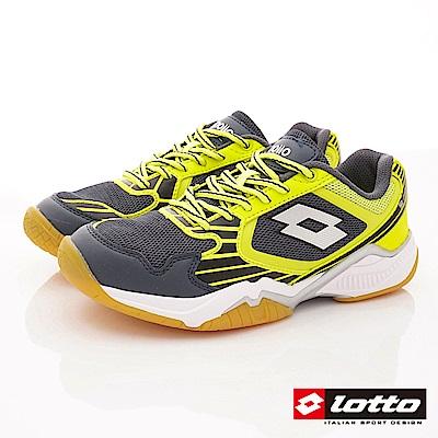 Lotto義大利運動鞋 專業羽球鞋款 SI915灰螢光黃(大童段)