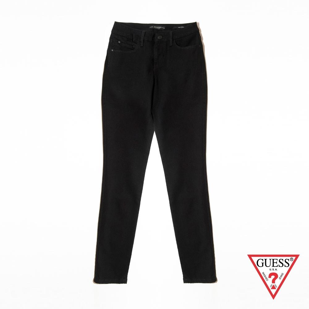 GUESS-女裝-經典刷色牛仔長褲-黑 原價2990