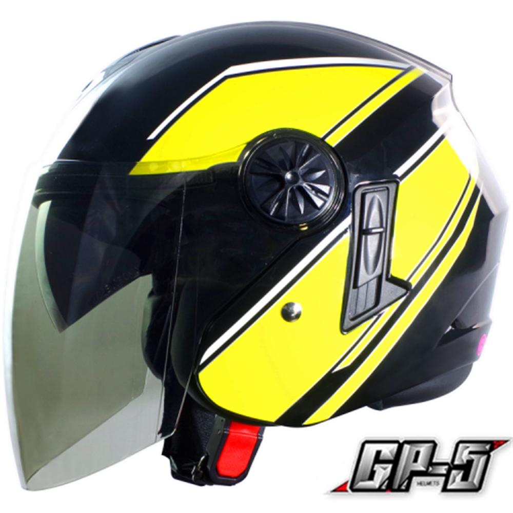 【GP-5】簡約 安全帽 雙鏡片│導流通風設計│機車│內襯│開放式安全帽│內墨鏡 (黑黃)