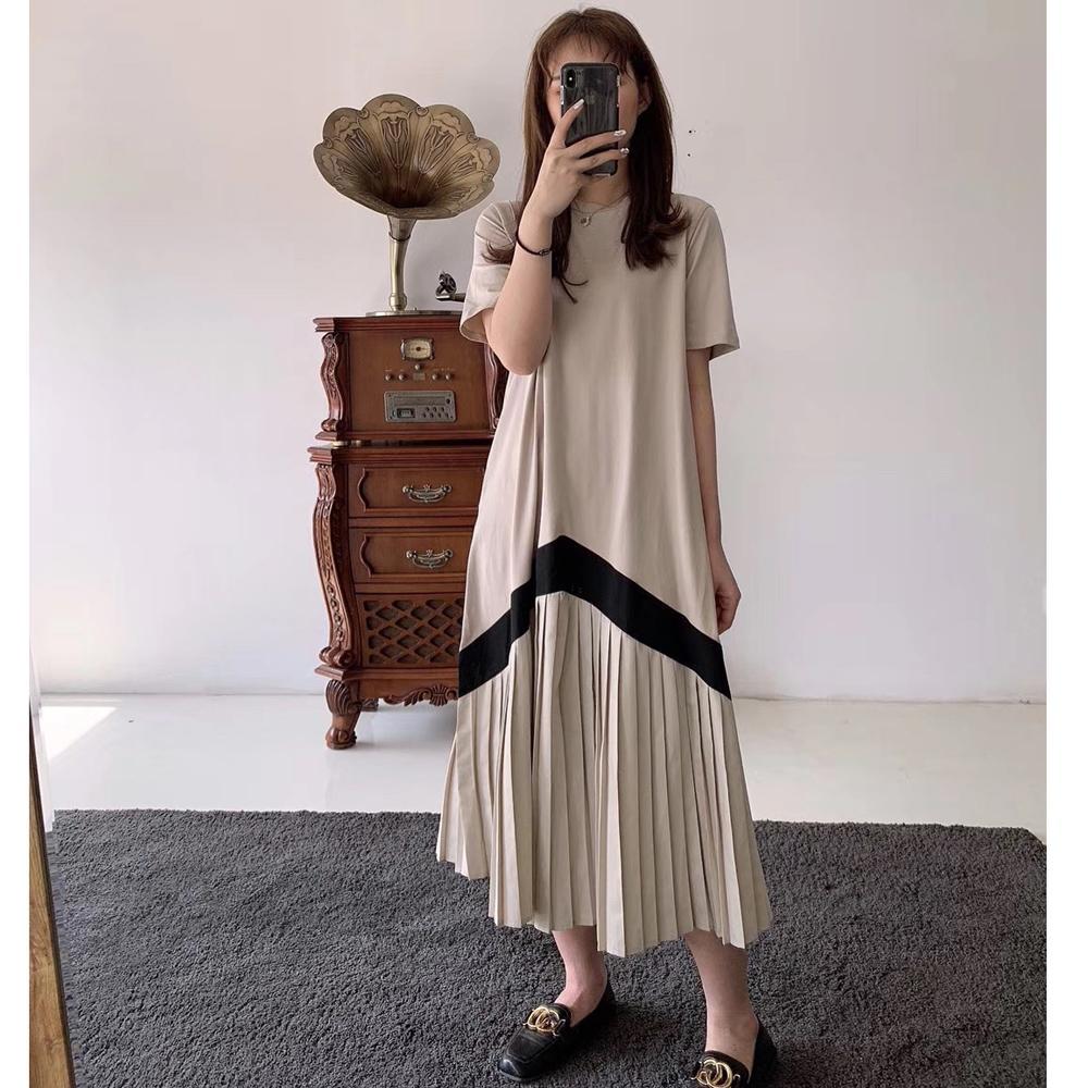 La Belleza圓領棉質下擺拼接滾邊配色百摺裙擺長洋裝 product image 1