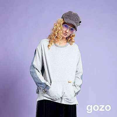 gozo 丹寧外套拼接造型上衣(灰色)