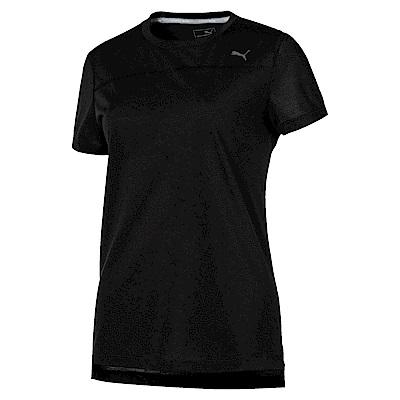 PUMA-女性慢跑系列素色短袖T恤-黑色-歐規