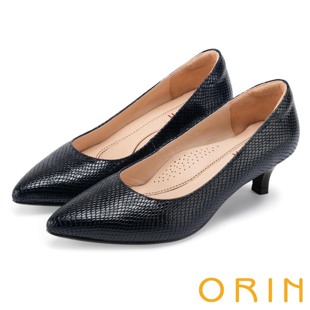 ORIN 典雅輕熟OL 壓紋牛皮素面尖頭中跟鞋-深藍