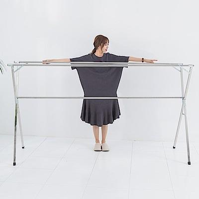 [時時樂限定]IDEA-X型全折疊加大2.4米不鏽鋼三桿伸縮棉被衣架