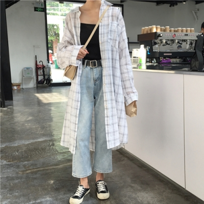 La Belleza雙線格紋單口袋超長版寬鬆棉麻薄襯衫罩衫外套