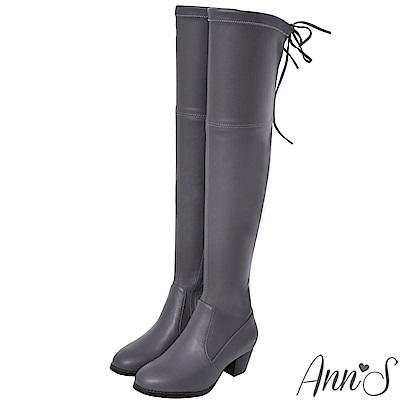 Ann'S俐落線條-羊紋後蝴蝶結貼腿彈力側拉鍊過膝靴-灰