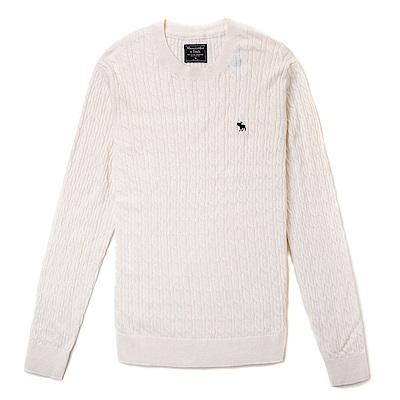 麋鹿 AF A&F 經典麋鹿刺繡標誌毛衣-米白色