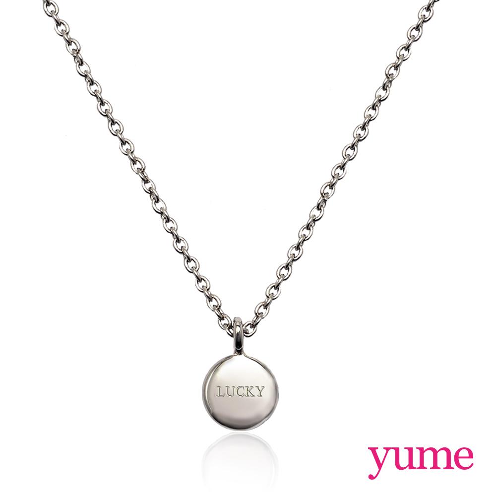 YUME 閨蜜系列 - 祈願小圓牌項鍊 - 白K金