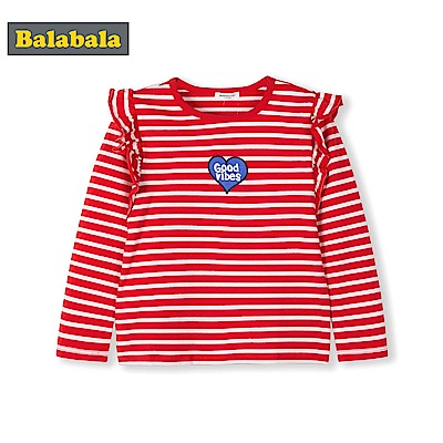 Balabala巴拉巴拉-荷葉邊愛心條紋長袖T恤-女(2色)