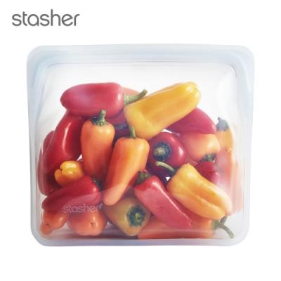 Stasher 站站環保按壓式矽膠密封袋-雲霧白(快)