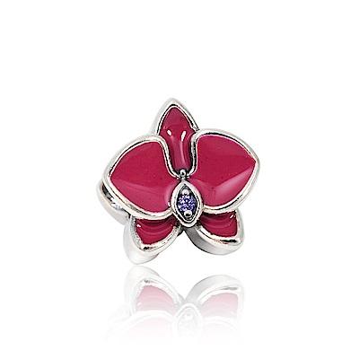 Pandora 潘朵拉 魅力琺瑯蘭花鑲鋯 純銀墜飾 串珠