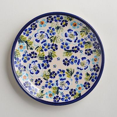 【波蘭陶 Zaklady】手工製 青藍夏日 淺底圓形餐盤19cm