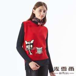 【麥雪爾】貓咪圖案緹花背心-紅