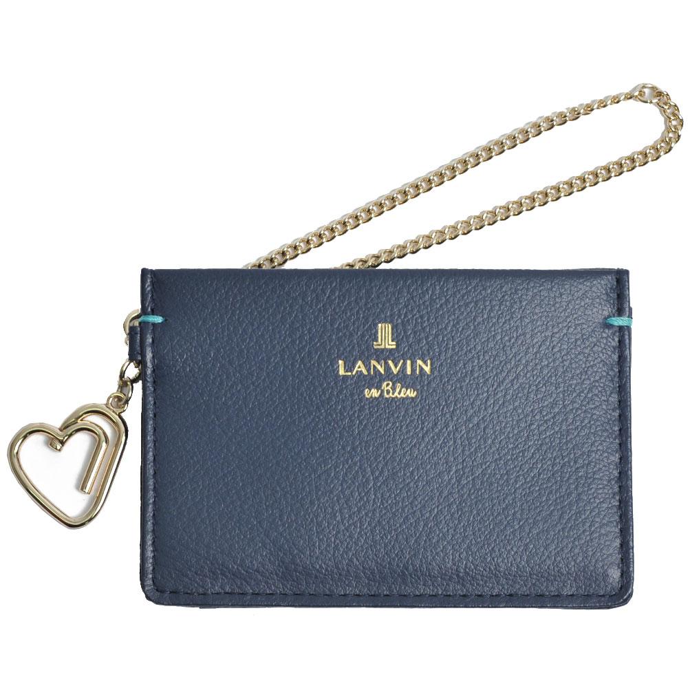 LANVIN 品牌經典LOGO圖騰牛皮愛心掛飾名片夾(深藍)
