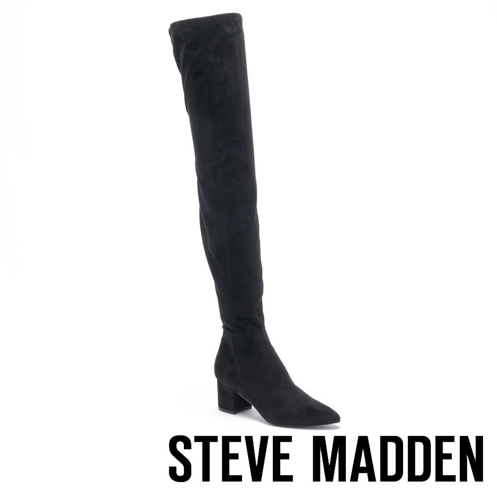 STEVE MADDEN-BOLTED 絨面尖頭粗跟長筒套靴-絨黑